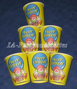 6 Pappbecher Happy Birthday Clown 250 ml