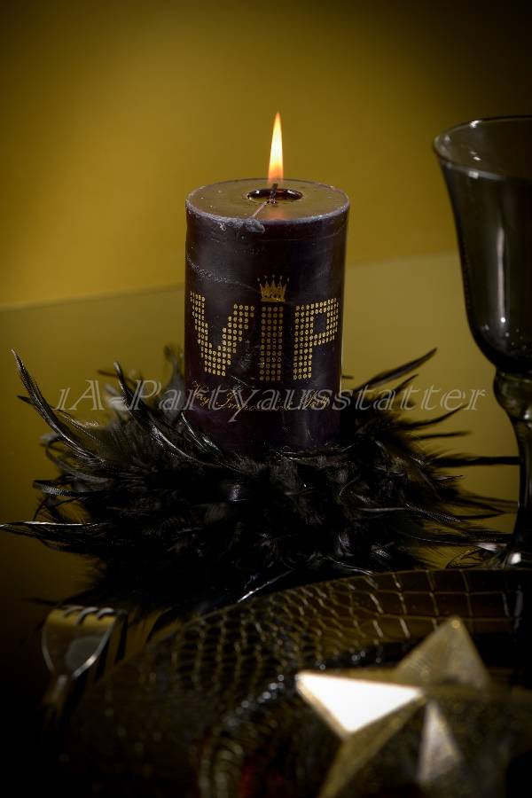 Stumpenkerze VIP Mottoparty schwarz gold