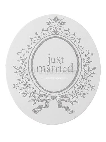 Sticker Just Married Mottoparty weiß oval