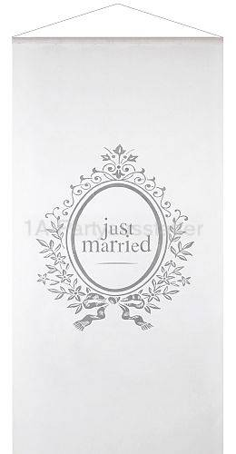 Wandbehang Just Married wei� Mottoparty Banner