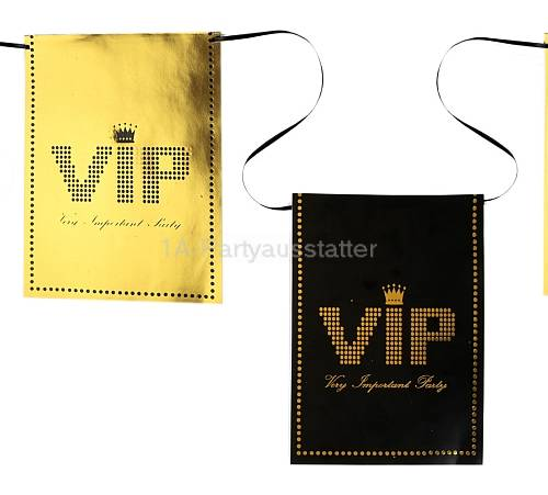 Wimpelkette VIP schwarz gold Mottoparty 6 m Pappe