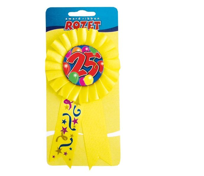 Anstecker Orden Rosette Jubiläum 25. Geburtstag gelb