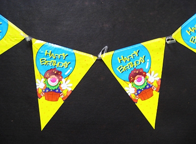 5 Wimpelkette Motivparty HB Clown 3,6m